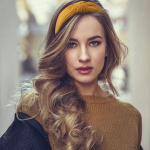 Knotted Mustard Yellow Knit Headband